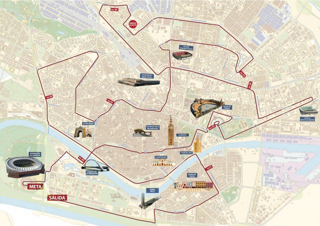 Трасса Севильского марафона (Zurich Maratón de Sevilla) 2019