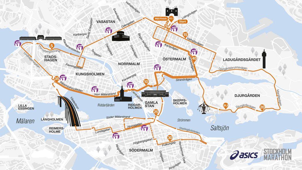Трасса Стокгольмского марафона (ASICS Stockholm Marathon) 2019