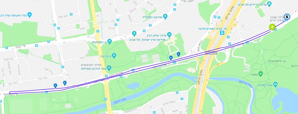 Карта забега на 5 км Тель-Авивского марафона 2019