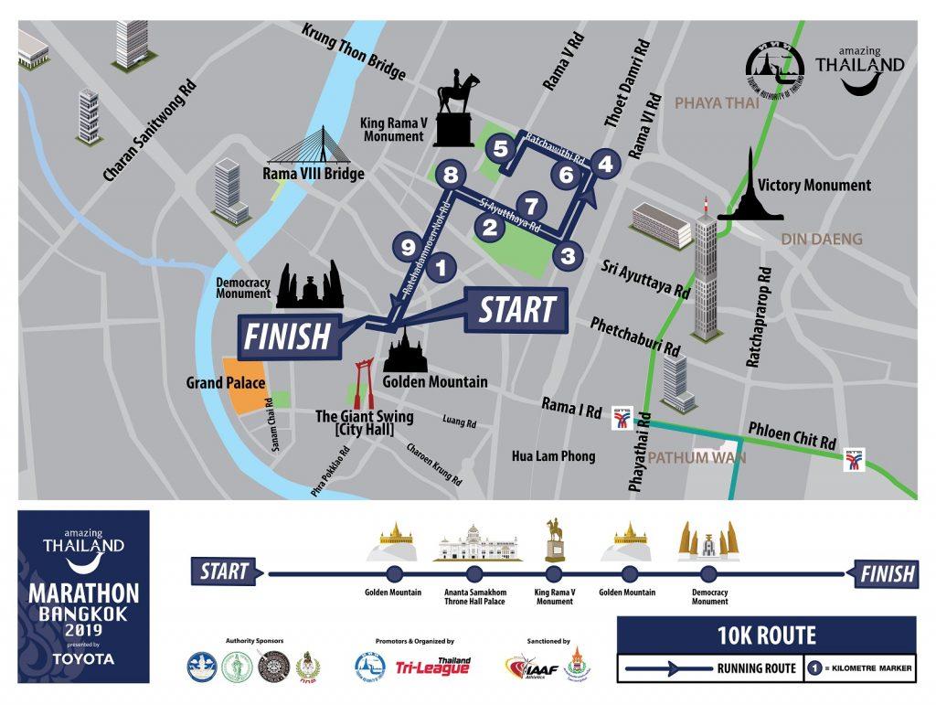 Трасса забега на 10 км в рамках Бангкокского марафона (Amazing Thailand Marathon Bangkok) 2019