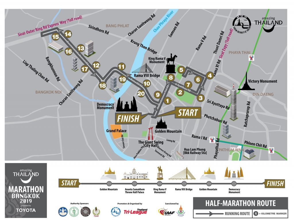 Трасса Бангкокского полумарафона (Amazing Thailand Marathon Bangkok) 2019