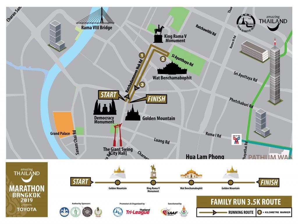 Трасса семейного забега на 3,5 км в рамках Бангкокского марафона (Amazing Thailand Marathon Bangkok) 2019