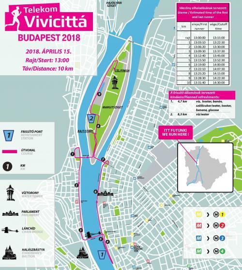 Трасса забега на 10 км в рамках Будапештского полумарафона (Telekom Vivicitta Spring Half Marathon) 2018