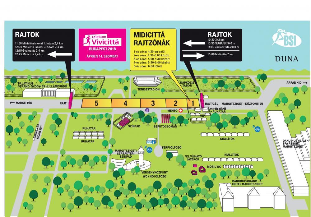 План зоны старта субботних забегов в рамках Будапештского полумарафона (Telekom Vivicitta Spring Half Marathon) 2018