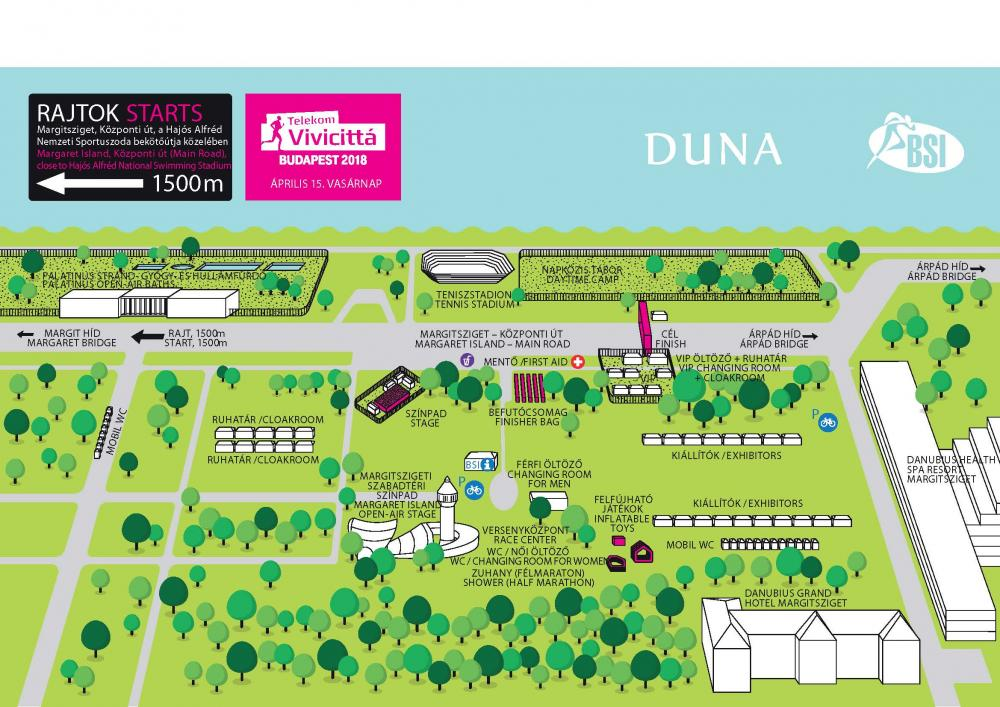 План зоны финиша Будапештского полумарафона (Telekom Vivicitta Spring Half Marathon) 2018