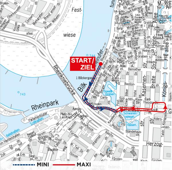 Трасса детских забегов в рамках Дюссельдорфского марафона (METRO Marathon Düsseldorf) 2019