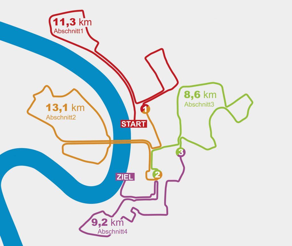 Деление на этапы трассы эстафеты в рамках Дюссельдорфского марафона (METRO Marathon Düsseldorf) 2019