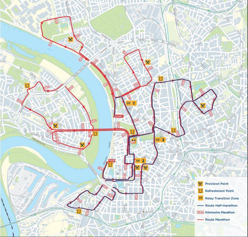 Трасса Дюссельдорфского марафона и полумарафона (METRO Marathon Düsseldorf) 2019