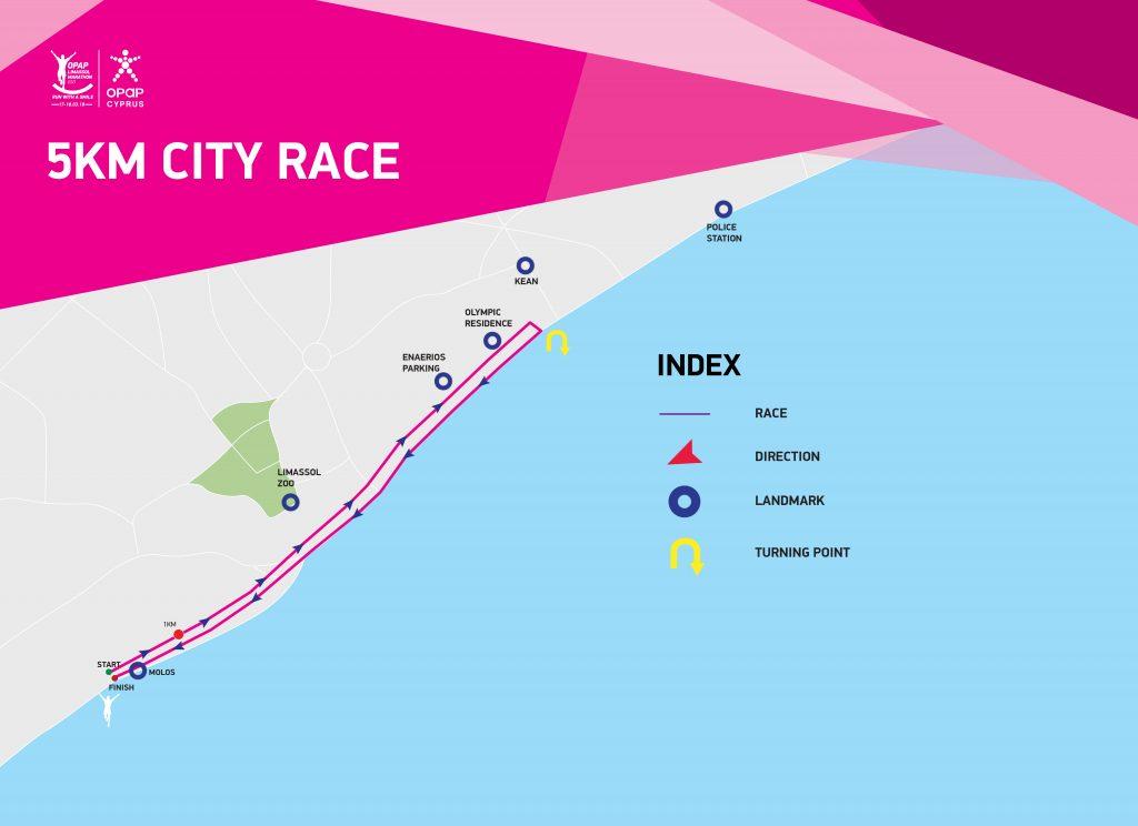 Трасса забега на 5 км в рамках OPAP Limassol Marathon GSO 2019