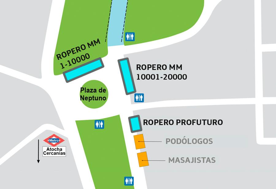 Схема расположения палаток для хранения вещей участников Мадридского полумарафона (Movistar Medio Maratón de Madrid) 2019
