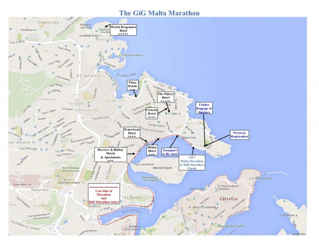 Карта финиша Мальтийского марафона (GiG Malta Marathon) и полумарафона 2019