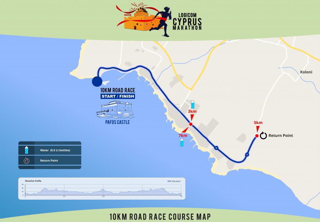 Трасса забега на 10 км в рамках Logicom Cyprus Marathon 2019