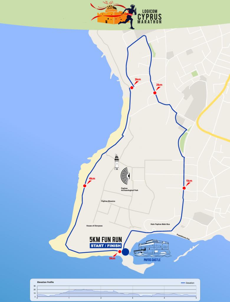 Трасса забега на 5 км в рамках Logicom Cyprus Marathon 2019