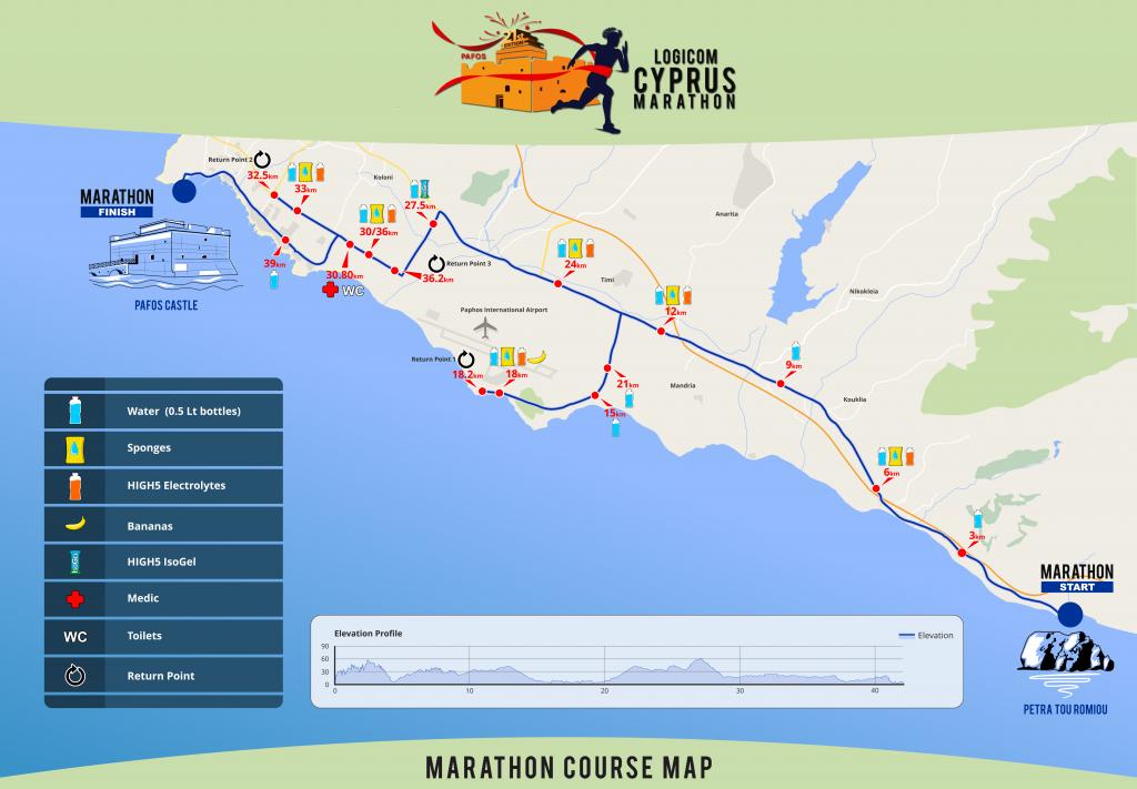 Трасса Кипрского марафона (Logicom Cyprus Marathon) 2019 с профилем высот
