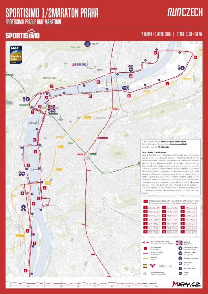 Трасса Пражского полумарафона (Sportisimo 1/2Maraton Praha) 2018 с профилем высот