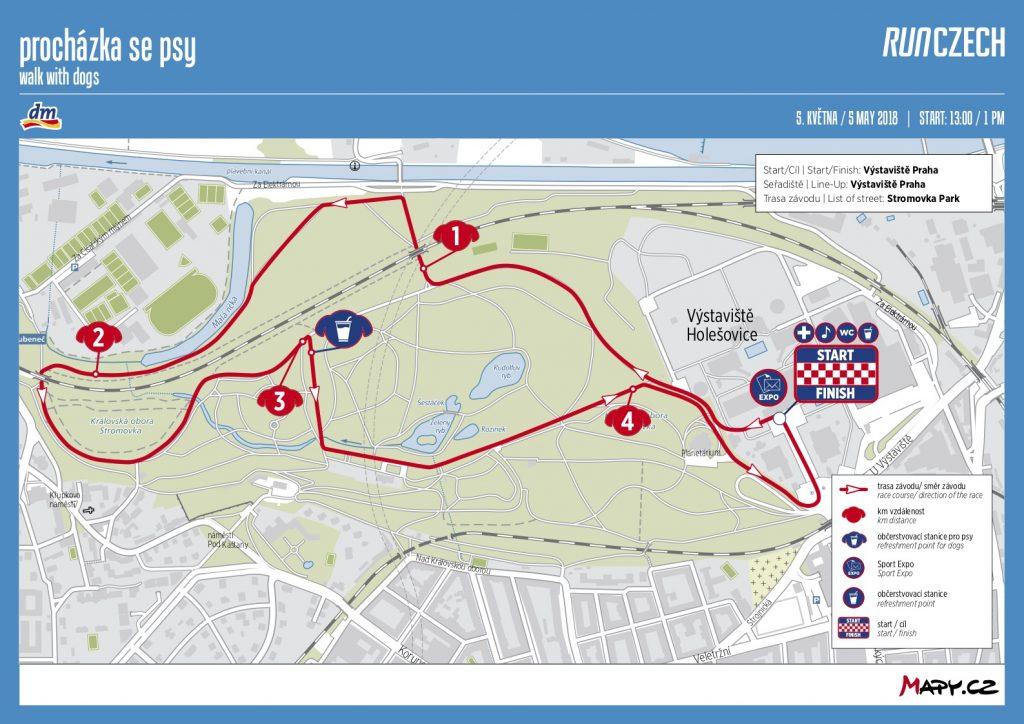 Карта забега с собаками в рамках Volkswagen Maraton Praha 2018