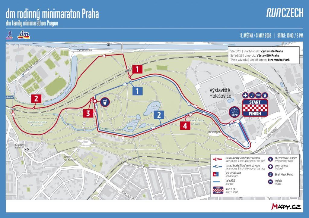 Карта семейного забега в рамках Volkswagen Maraton Praha 2018