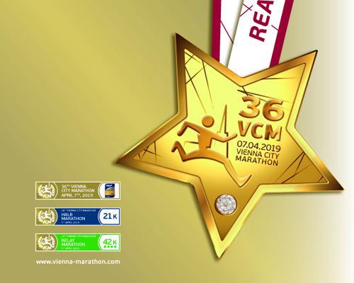 Медаль Венского марафона (Vienna City Marathon) 2019, украшенная стразом Swarovski