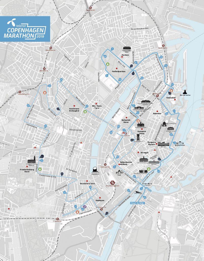Трасса Копенгагенского марафона (Telenor Copenhagen Marathon) 2019