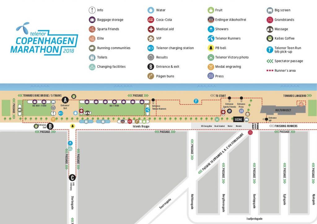 Зона старта и финиша Копенгагенского марафона (Telenor Copenhagen Marathon) 2018