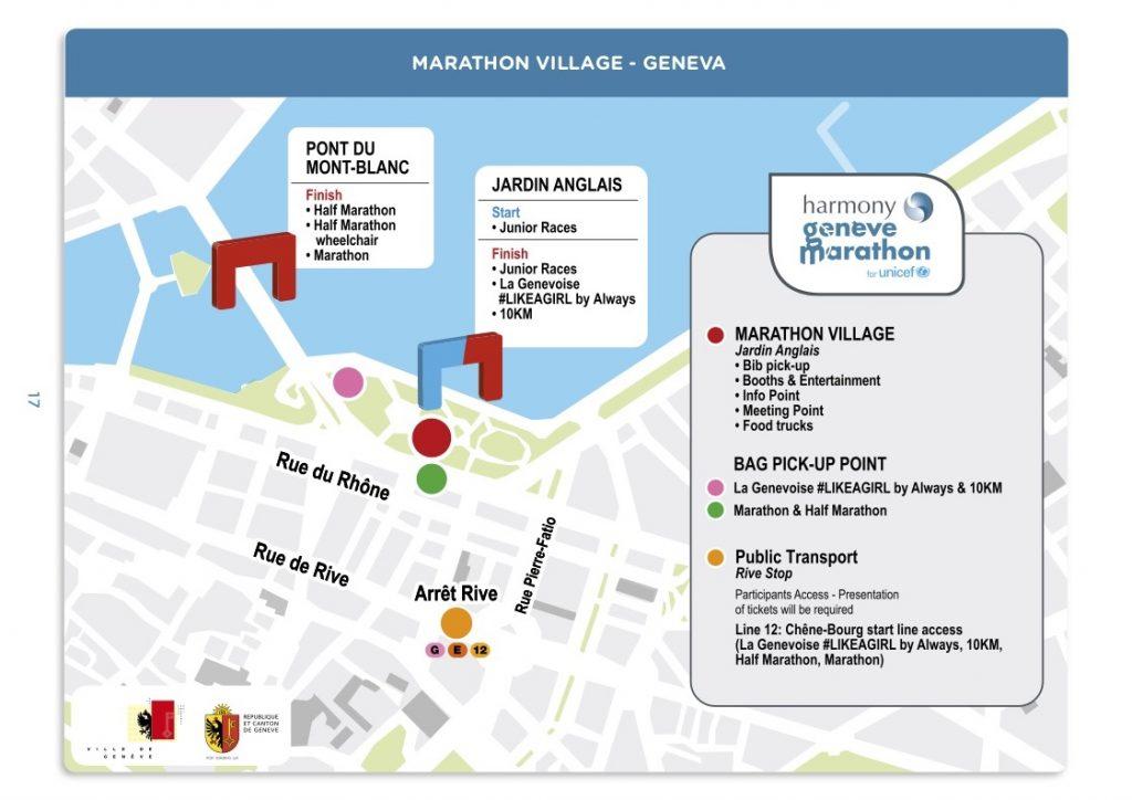 План зоны финиша Женевского марафона (Harmony Genève Marathon for Unicef) 2018