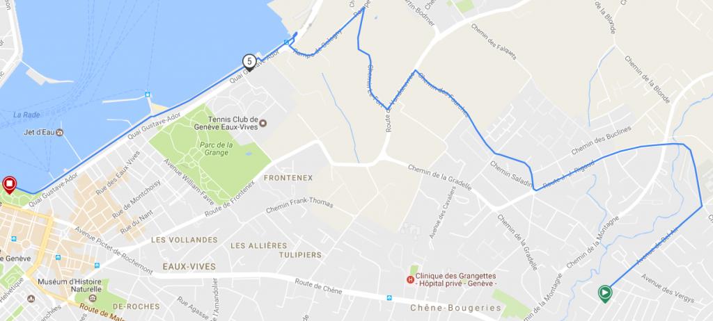 Трасса женского забега на 6,5 км в рамках Женевского марафона (Harmony Genève Marathon for Unicef) 2019