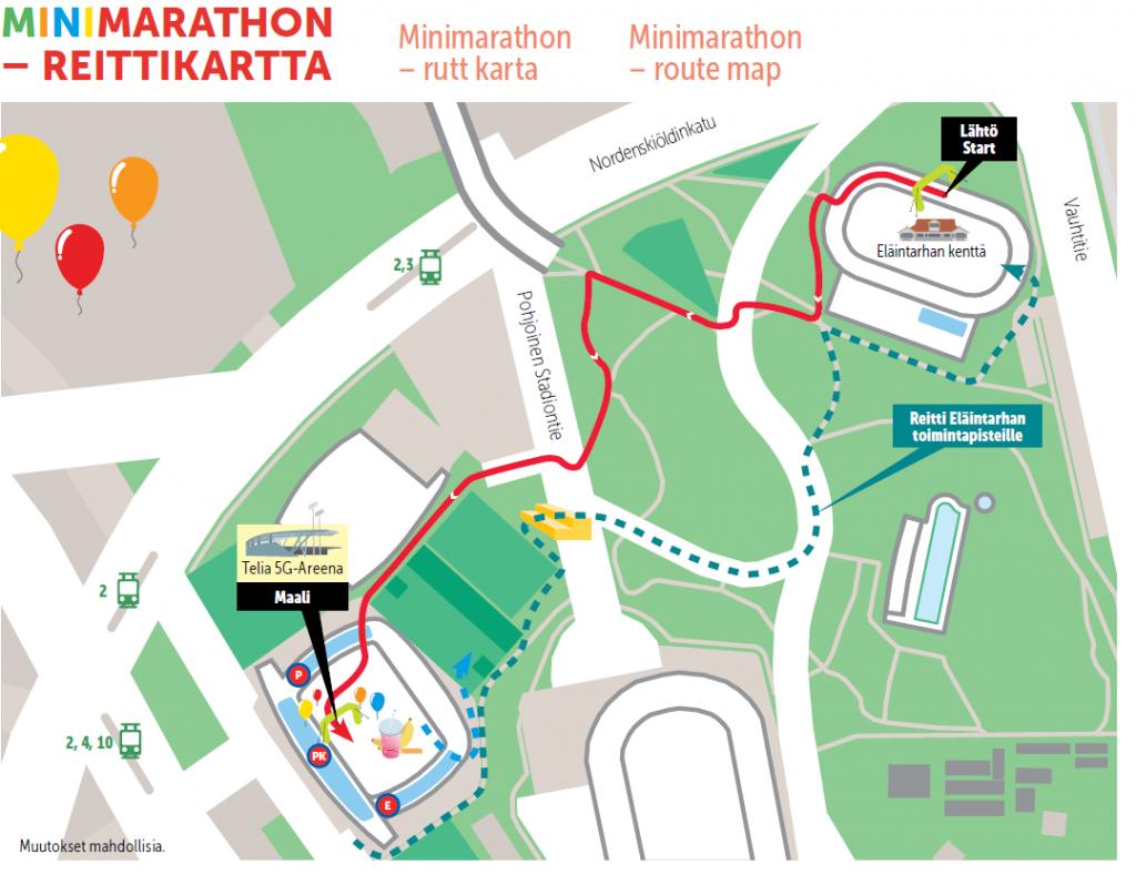 Схема детских забегов в рамках Хельсинского марафона (Sportyfeel Helsinki City Marathon) 2018