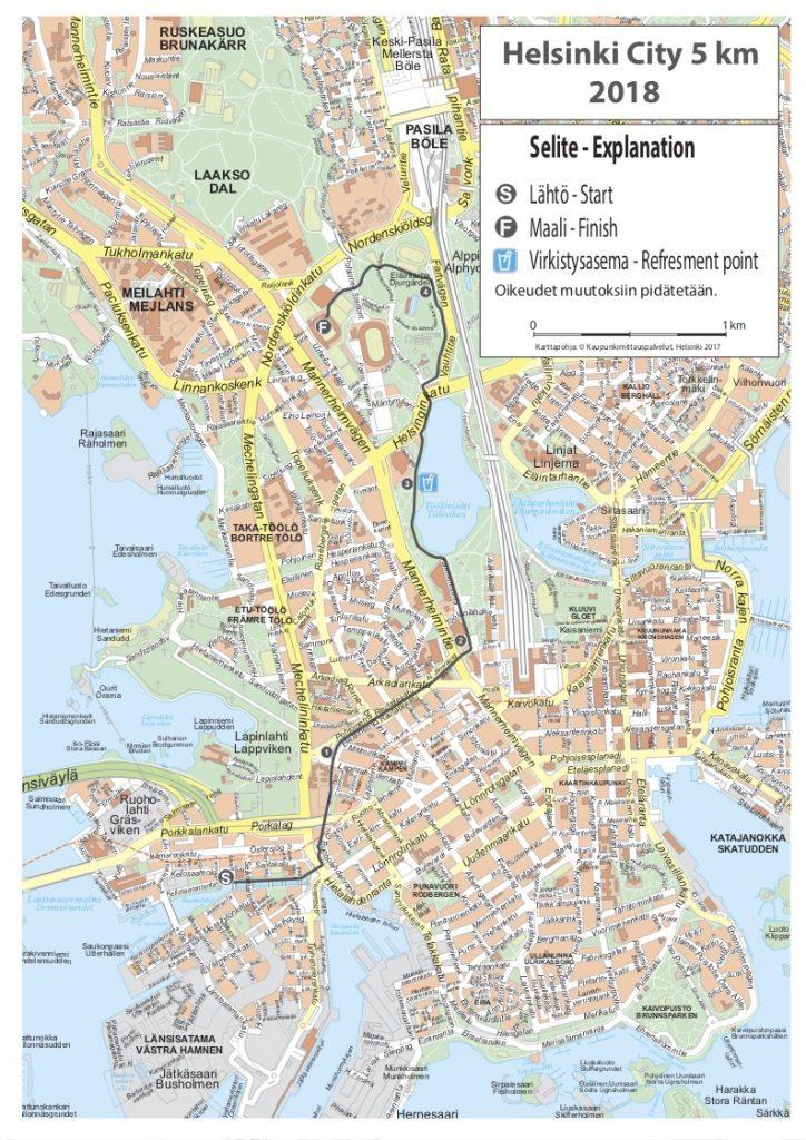 Трасса забега на 5 км в рамках Хельсинского марафона (Sportyfeel Helsinki City Marathon) 2018