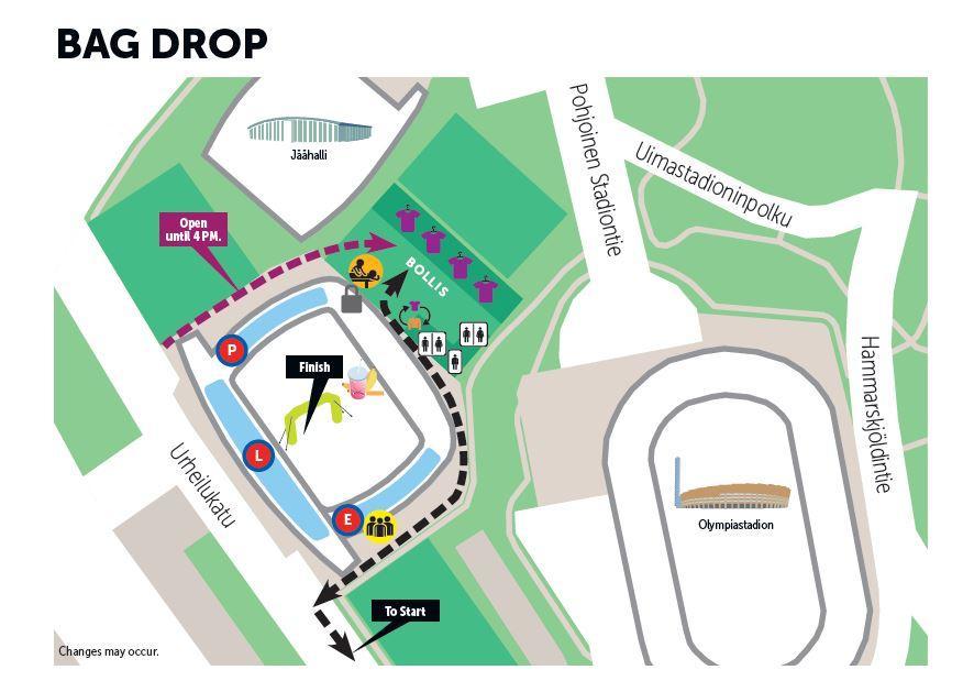 Схема места хранения личных вещей участников Хельсинского марафона (Sportyfeel Helsinki City Marathon) и полумарафона (Helsinki City Run puolimarathon) 2018