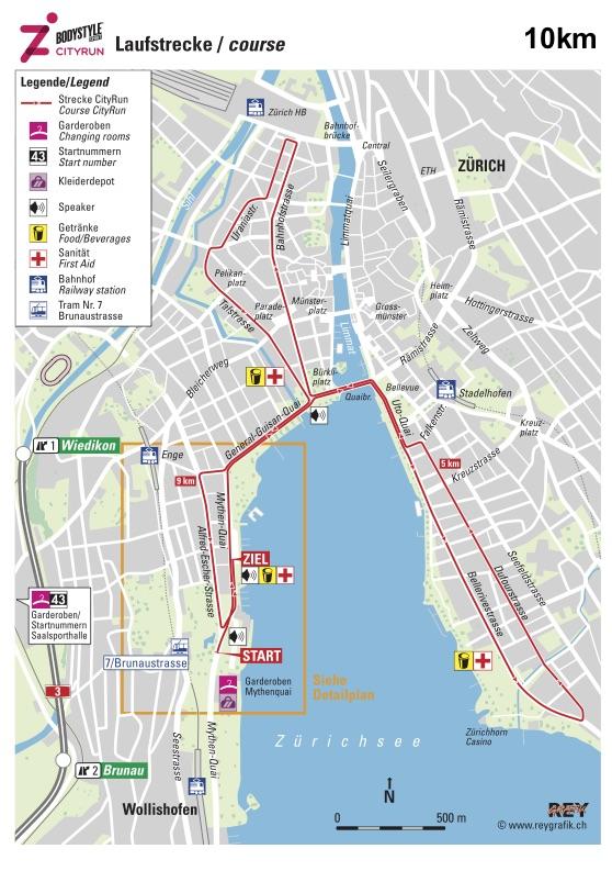 Трасса забега на 10 км в рамках Цюрихского марафона (Zürich Marathon) 2019