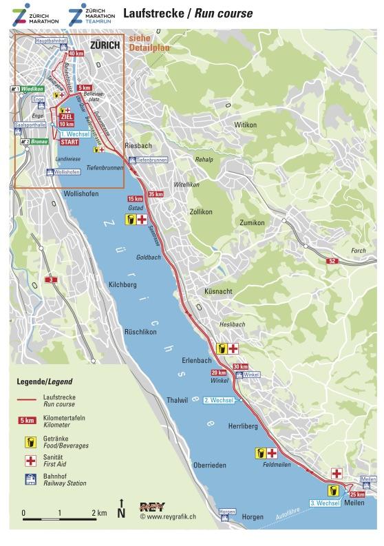 Трасса Цюрихского марафона (Zürich Marathon) 2019
