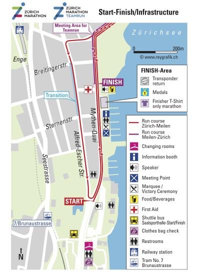 Часть трассы Цюрихского марафона (Zürich Marathon) 2019, зона старта/финиша