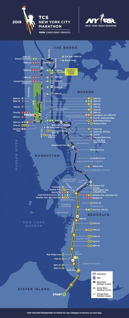 Трасса Нью-Йоркского марафона (TCS New York City Marathon) 2019