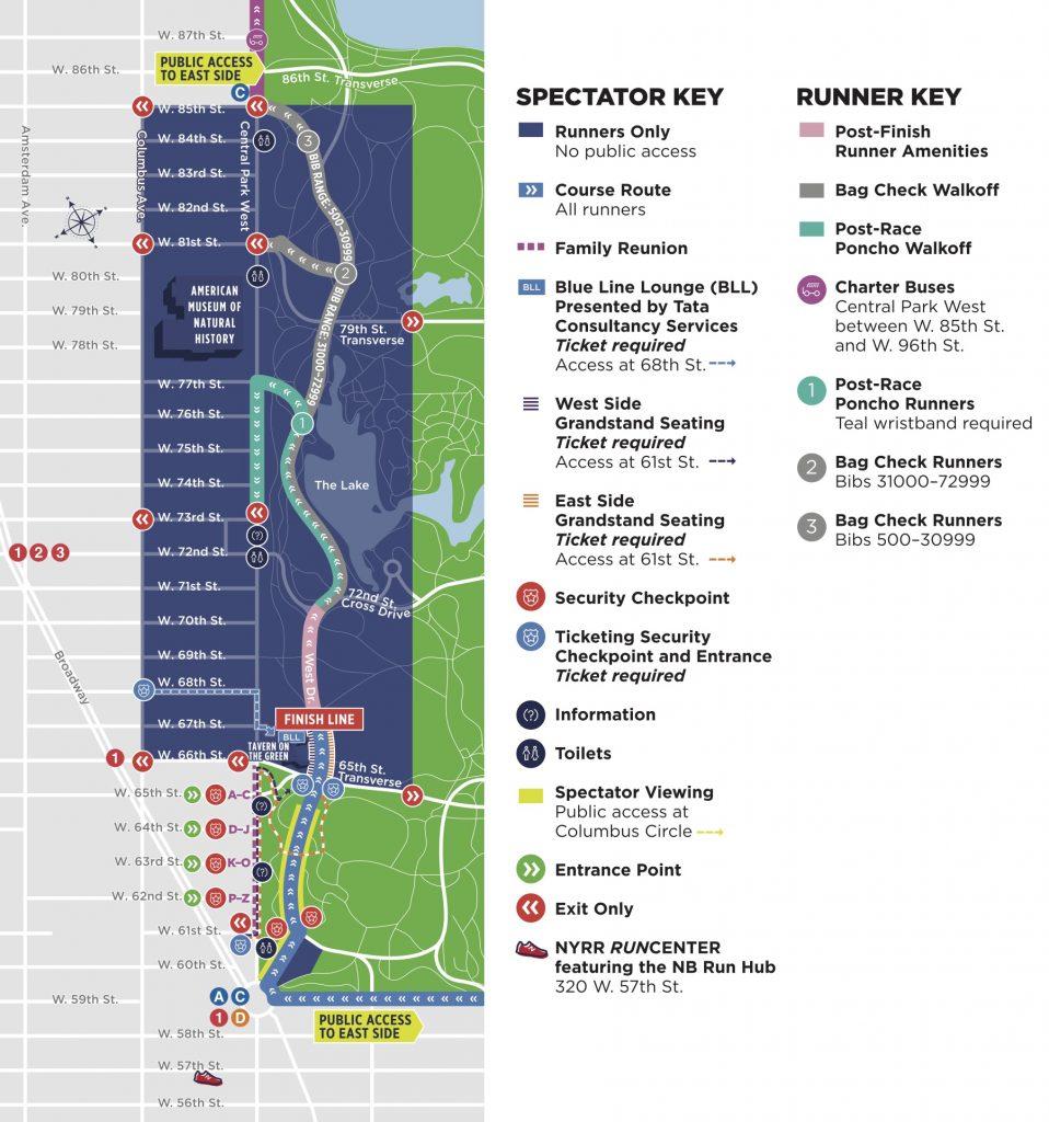 План зоны финиша Нью-Йоркского марафона (TCS New York City Marathon) 2019