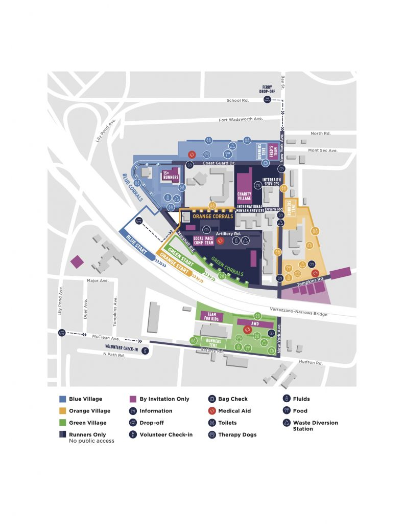 План зоны старта Нью-Йоркского марафона (TCS New York City Marathon) 2019