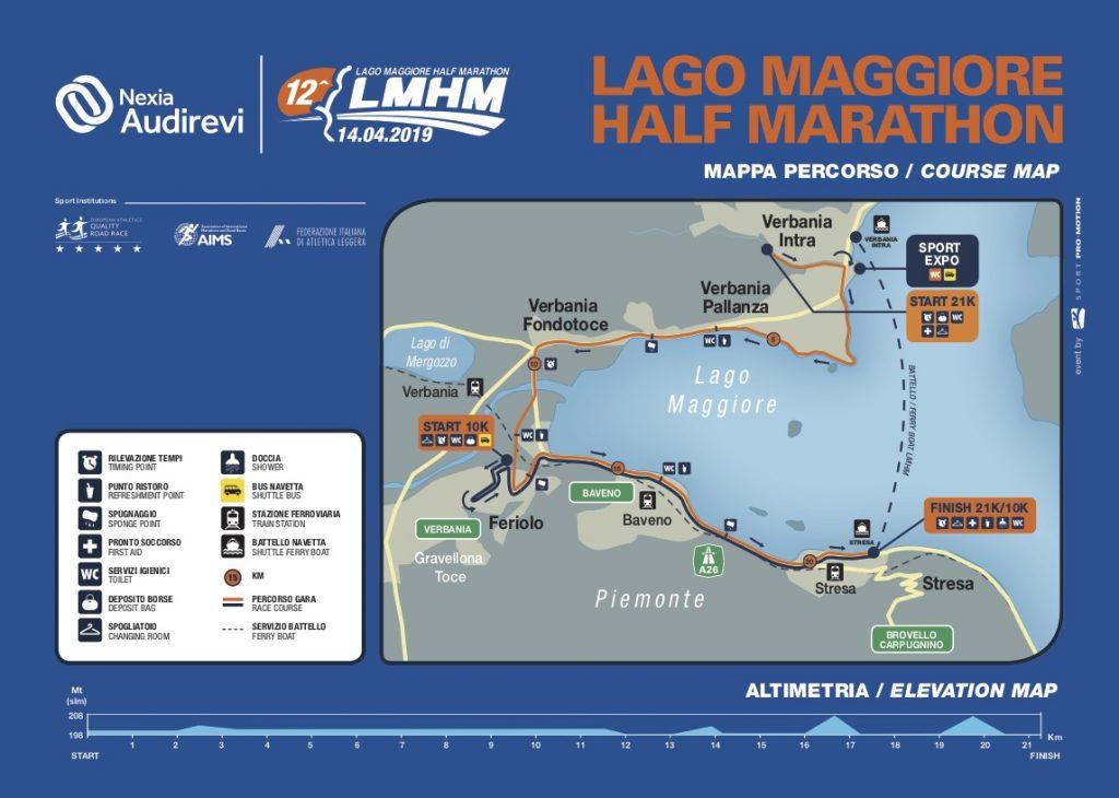 Трасса полумарафона озера Лаго-Маджоре (NEXIA AUDIREVI Lago Maggiore Half Marathon) 2019 и профиль высот