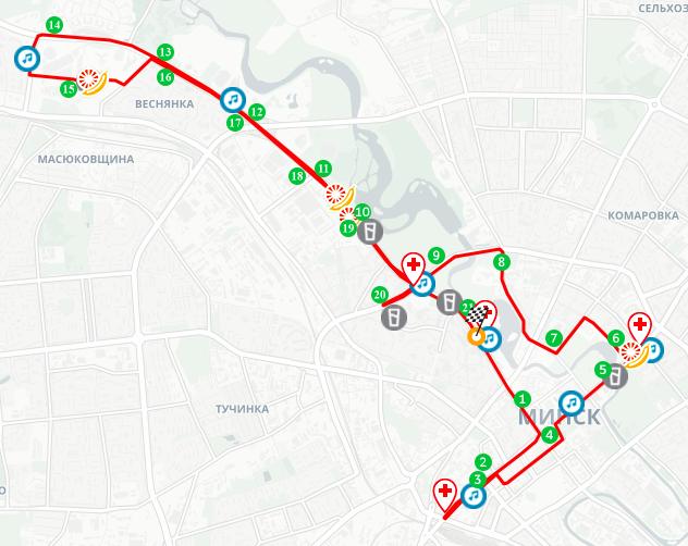 Трасса Минского полумарафона (Minsk Half Marathon) 2019