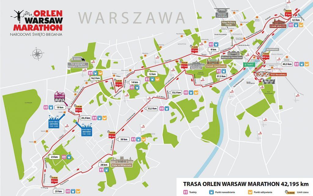 Трасса Варшавского марафона (ORLEN Warsaw Marathon) 2018