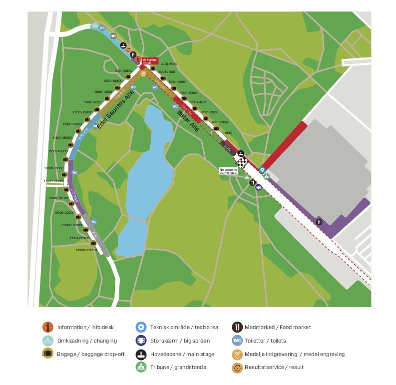 Зона старта Копенгагенского полумарафона (Copenhagen Half Marathon) 2019 со стартовыми блоками