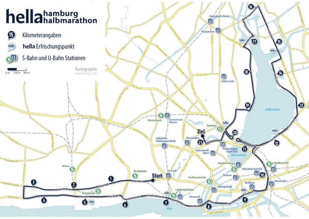 Трасса Гамбургского полумарафона (hella hamburg halbmarathon) 2019