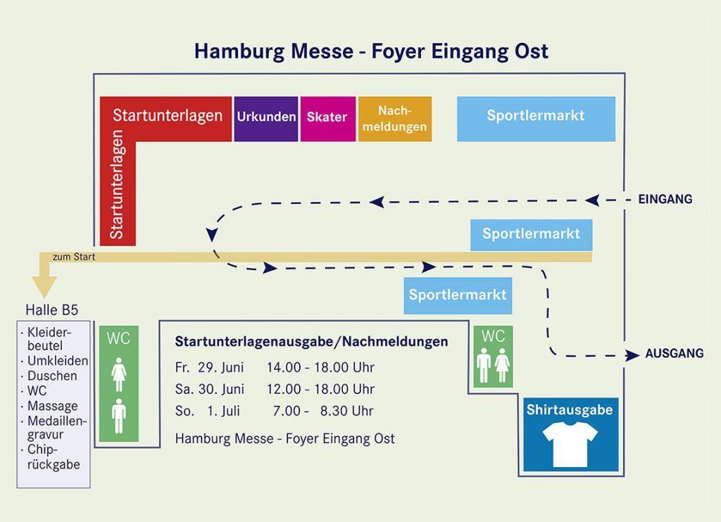 План места выдачи стартовых номеров в Messegelände