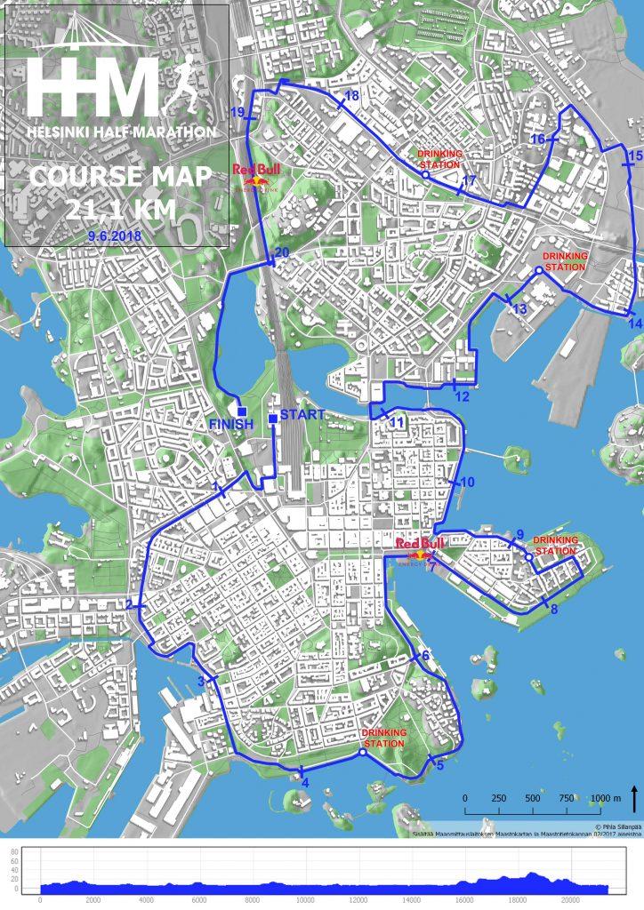 Трасса Хельсинского полумарафона (Helsinki Half Marathon) 2018 с профилем высот