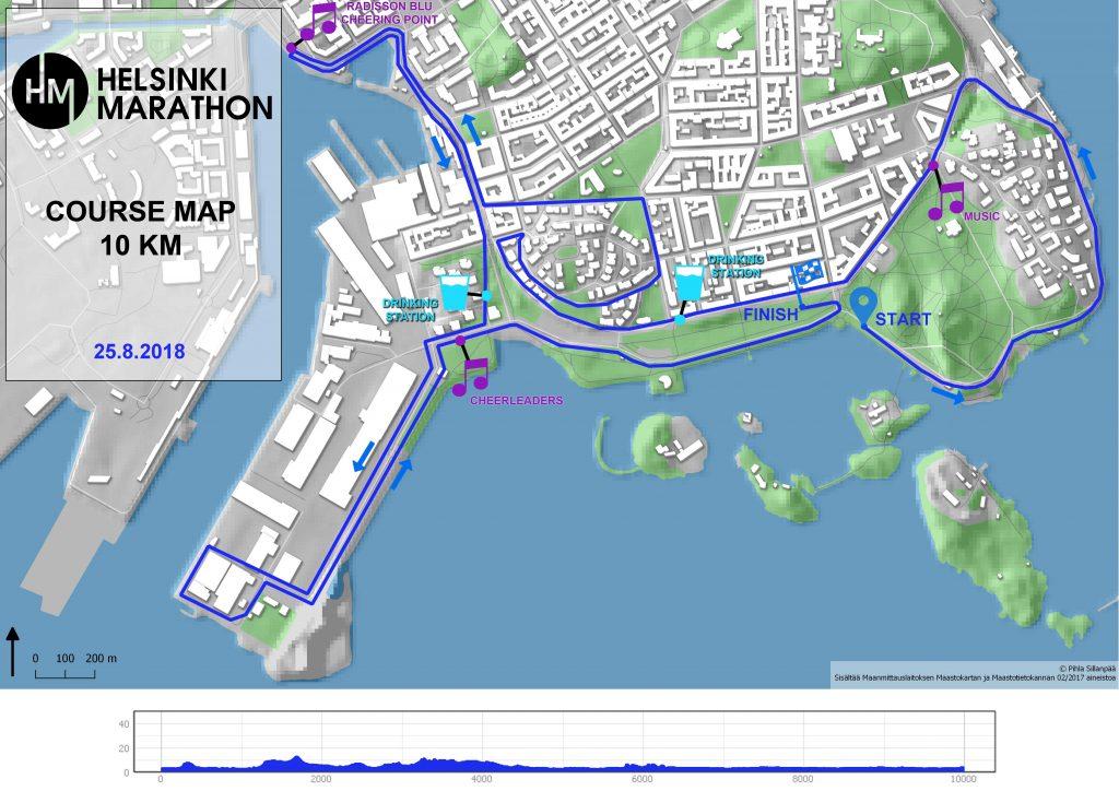 Трасса забега на 10 км в рамках Хельсинского марафона (Helsinki Marathon) 2018 с профилем высот