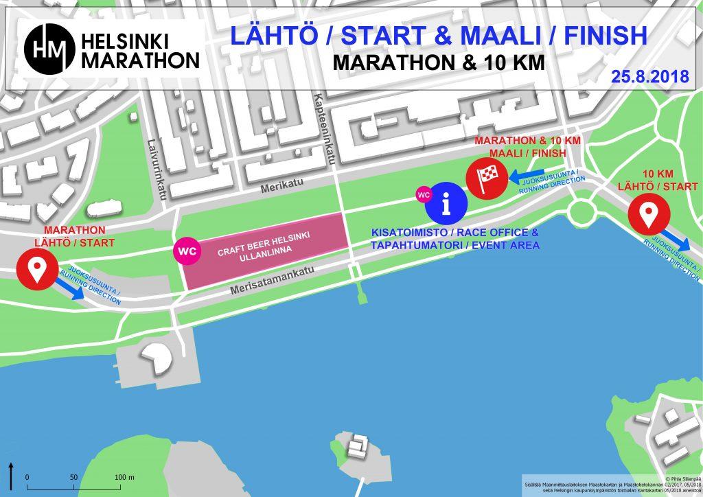 Зоны старта и финиша Хельсинского марафона (Helsinki Marathon) и полумарафона 2018