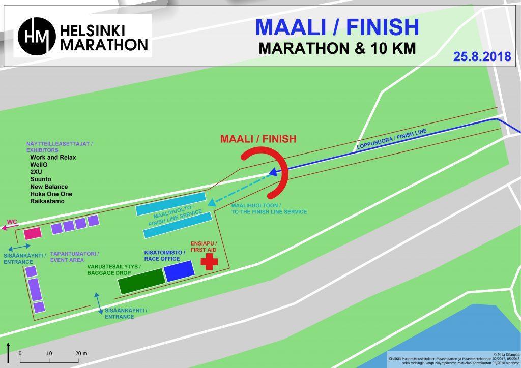Зона финиша Хельсинского марафона (Helsinki Marathon) и полумарафона 2018