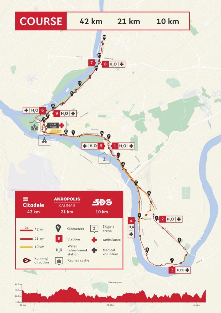 Трасса Каунасского марафона и полумарафона (Citadele Kauno Maratonas) 2019 с профилем высот