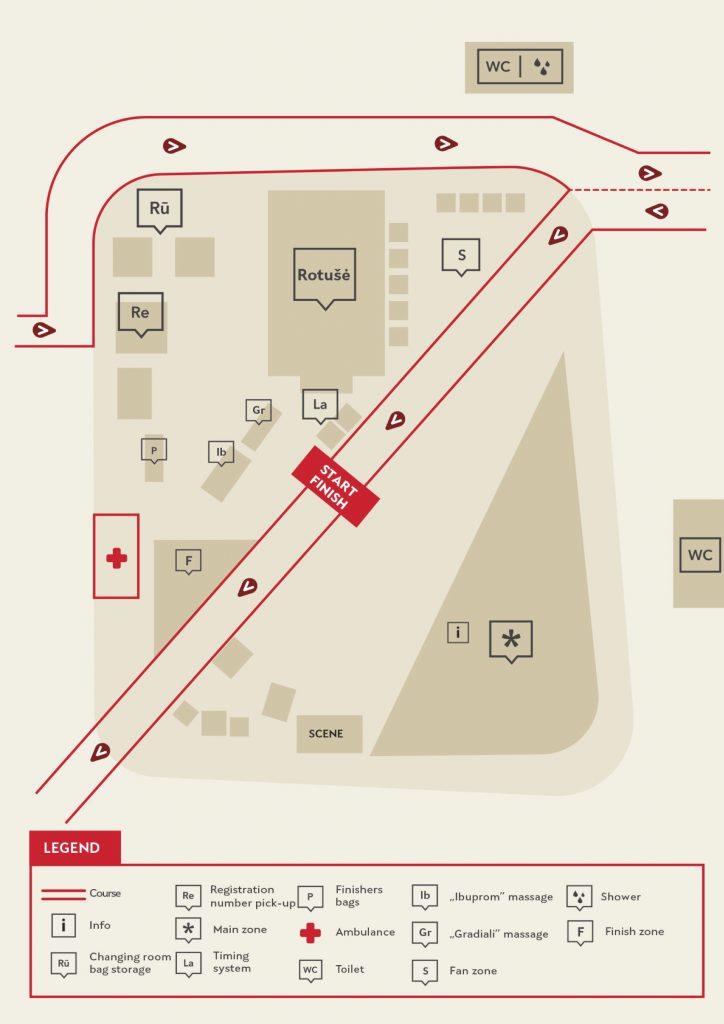 План зоны старта и финиша Каунасского марафона (Citadele Kauno Maratonas) 2019