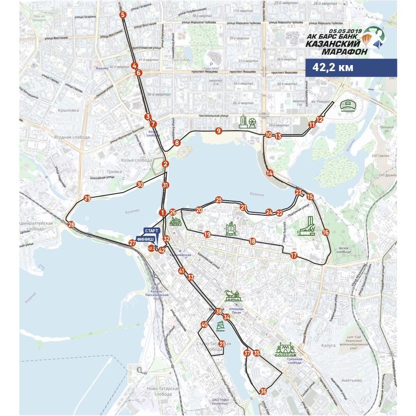 Трасса Казанского марафона (АК БАРС Банк Казанский марафон) 2019