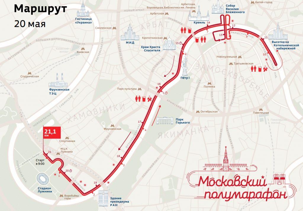 Трасса Московского полумарафона 2018
