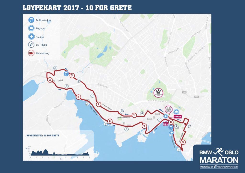 Трасса забега на 10 км в рамках Ословского марафона (BMW Oslo Maraton) 2018